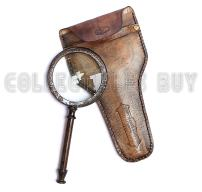 Vintage Antique Henry London Leather Case Brass Marine Handheld Magnifying Glass Astrologers Nautical Instrument - Xmas Gallery Gifts (Brown)
