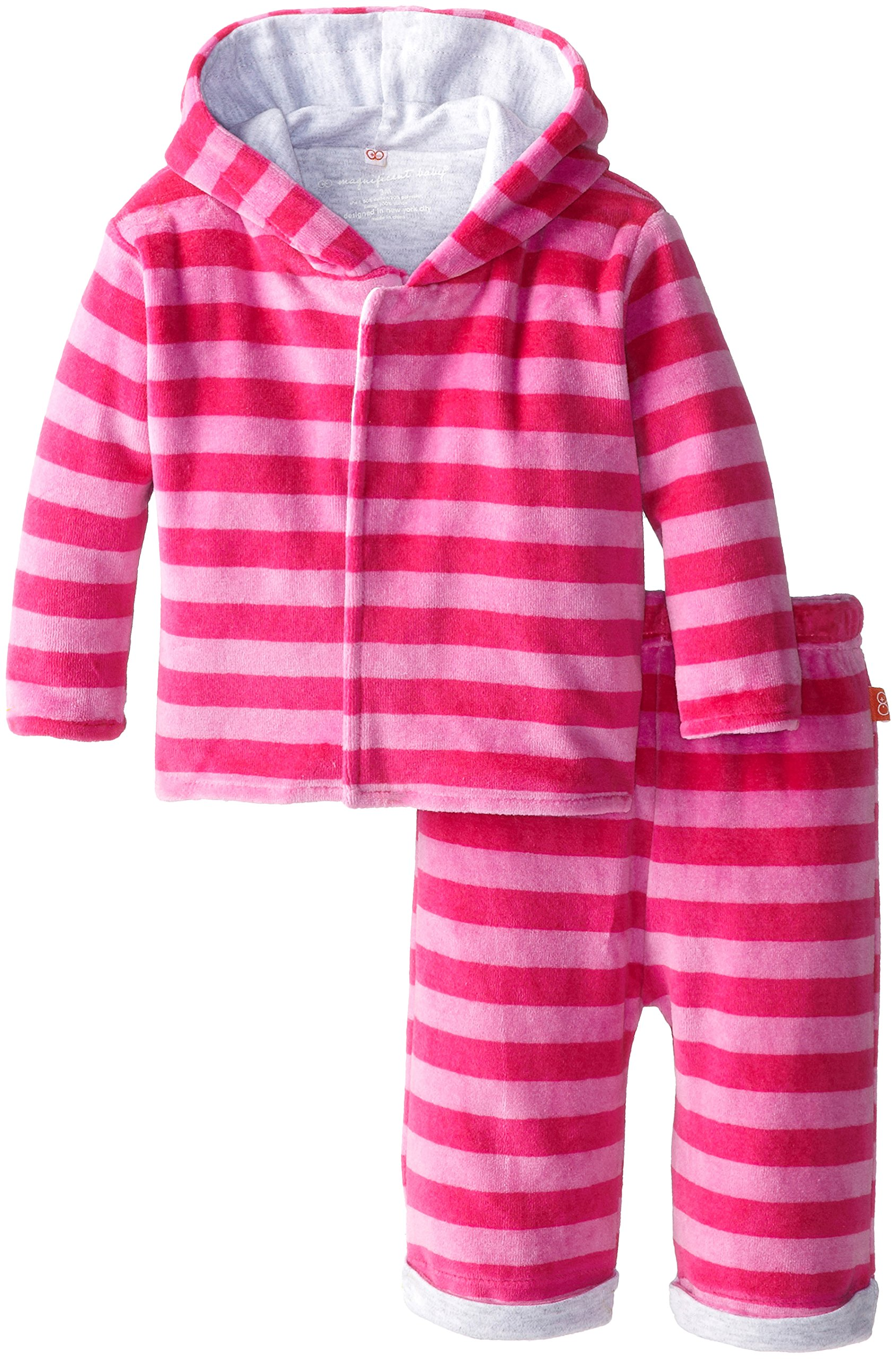 Magnificent Baby Baby Girls' Berry Velour Hoodie and Pants