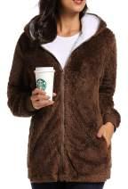 Caissip Fleece Coat for Women,Women's Oversized Zip Up Hooded Jacket Winter Plus Size Sherpa Coat