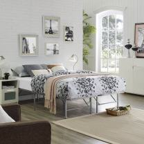 Modway Horizon Queen Bed Frame In Silver - Replaces Box Spring - Folding Metal Mattress Bed Frame
