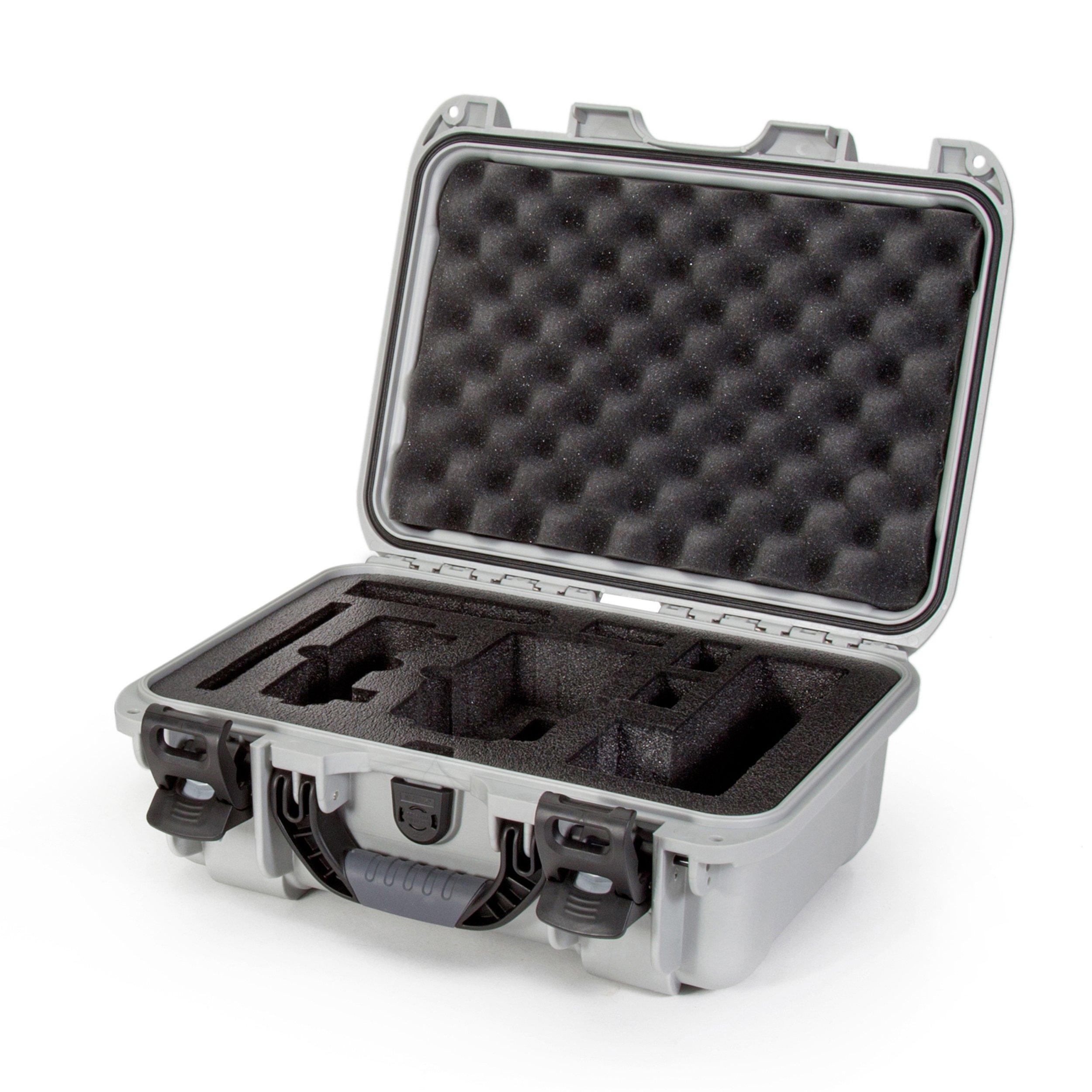 Nanuk Drone Waterproof Hard Case with Custom Foam Insert for DJI Mavic Air Fly More Combo - Silver