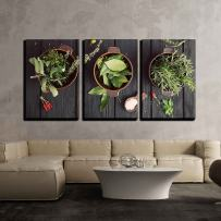 """wall26 - 3 Piece Canvas Wall Art - Mediterranean Herbs and Ingredients: Rosemary, Thyme, Sage, Salt, Oregano - Modern Home Decor Stretched and Framed Ready to Hang - 16""""x24""""x3 Panels"""