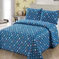 3pc Full/Queen Size Quilt Bedspread Kids/Teens Boys Baseball Gloves Hat Baseball Bat Blue White Grey Multicolor Bedding New