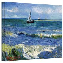ArtWall Seascape at Saintes Maries by Vincent Van Gogh Gallery Wrapped Canvas, 18 by 24-Inch