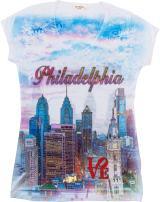 Sweet Gisele Philadelphia Graphic Tee | Rhinestone Embellished T-Shirt for Women
