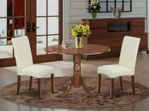 East West Furniture DLDR3-MAH-01 Kitchen Set 3 Pieces - Cream Linen Fabric Parsons Dining Room Chairs - Mahogany Finish Solid wood drop leaves Pedestal Dining Table and Frame