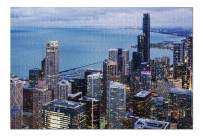 Chicago, Illinois - City Skyline Aerial Night View 9018579 (Premium 1000 Piece Jigsaw Puzzle for Adults, 20x30, Made in USA!)