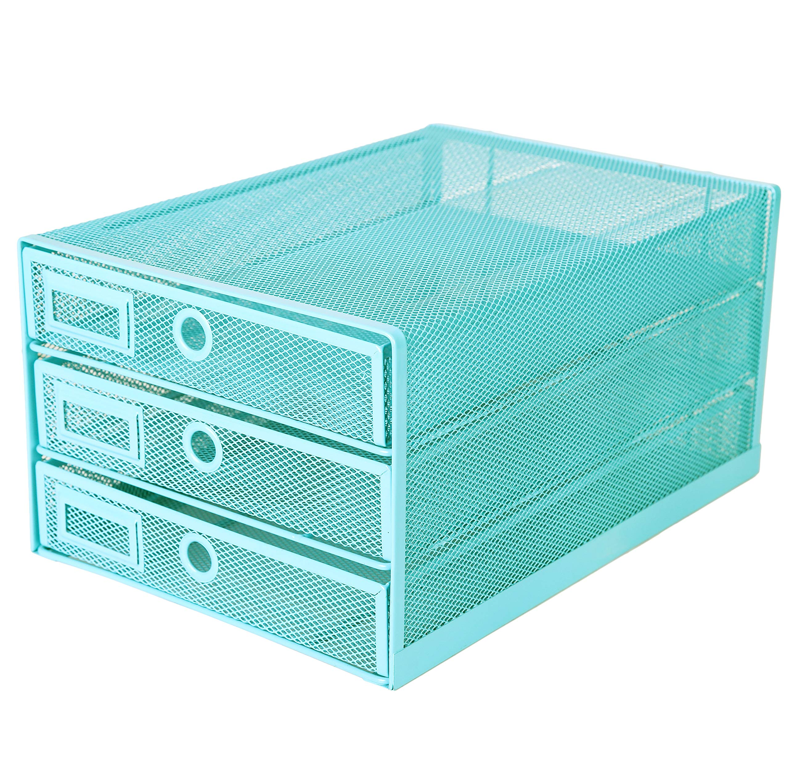 Exerz Desk Organizer Wire Mesh 3 Tier Sliding Drawers Paper Sorter/Multifunctional/Premium Solid Construction for Letters, Documents, Mail, Files, Paper, Kids' Art Supplies (Turquoise/Blue/Teal)