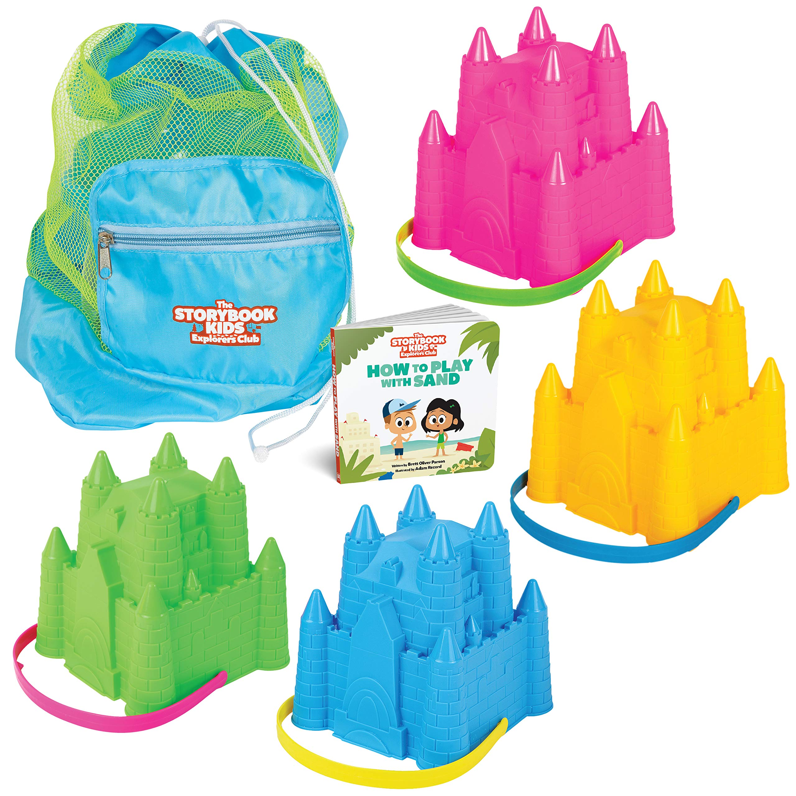 THE STORYBOOK KIDS EXPLORERS CLUB Beach Toys Set - Sandbox Sandcastle Toy 4-Pack for Toddlers with Fun Book - Baby & Toddler Sand Box Toys in Carry Bag - Castle Building Molds Kit for Boys & Girls