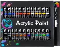 Acrylic Paint Set, 24 Different Colors - Acrylic Paints, 24 Tubes of 0.4 oz (12 mL) - Art Set for Adults and Kids - Craft Supplies Painting Canvas Panels, River Rocks, Glass, Wood, Fabric, Ceramic