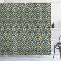 """Ambesonne Damask Shower Curtain, Mint Background with Ornamental Surreal Curved Leaves Buds Flowers Print, Cloth Fabric Bathroom Decor Set with Hooks, 70"""" Long, Mint Brown"""