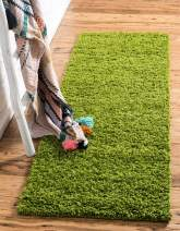 Unique Loom Solo Solid Shag Collection Modern Plush Grass Green Runner Rug (2' 6 x 16' 5)