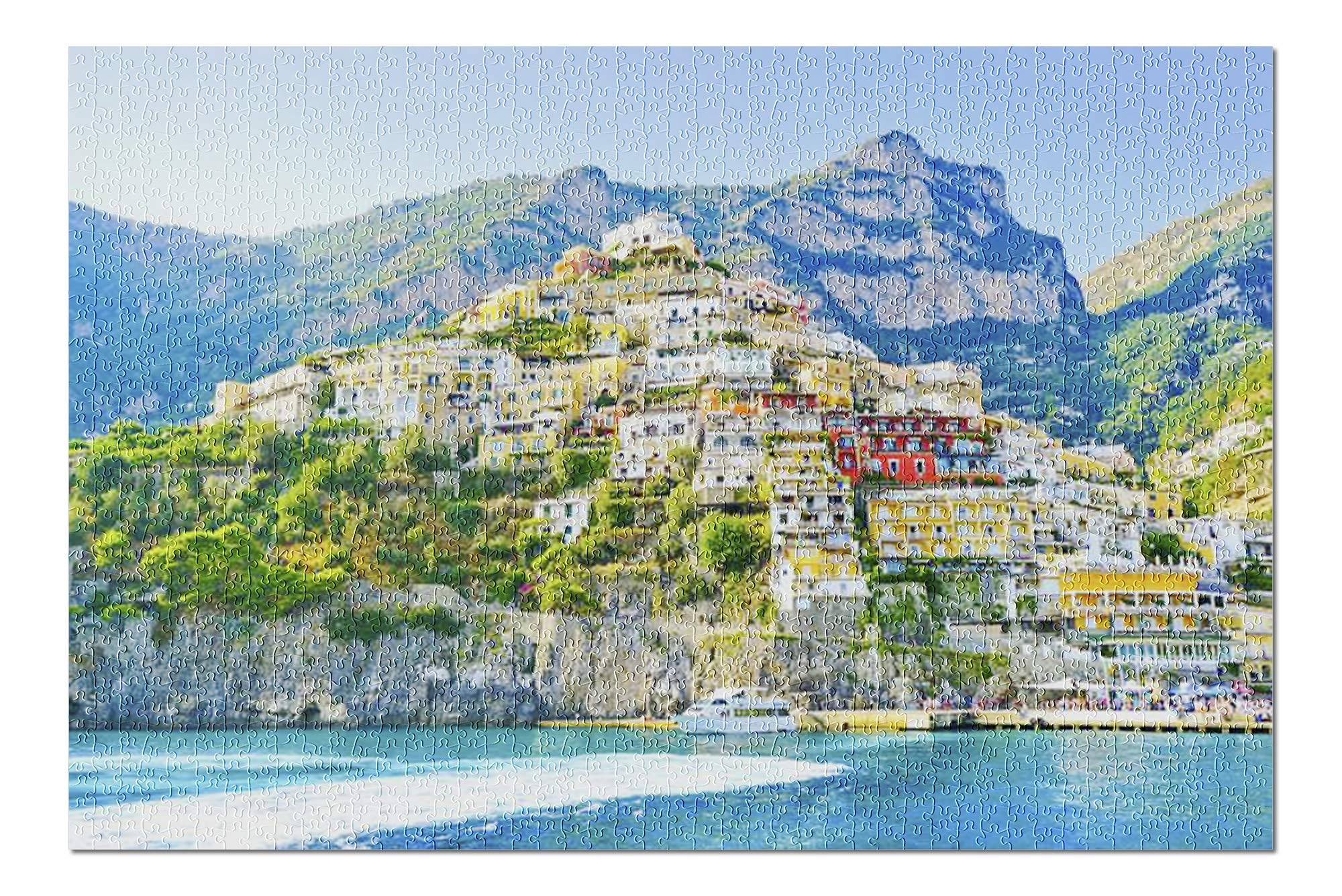 View of The Colorful Positano Village Along Amalfi Coast in Italy in Summer 9017918 (Premium 1000 Piece Jigsaw Puzzle for Adults, 20x30, Made in USA!)