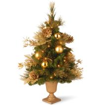 National Tree 36 Inch Decorative Collection Elegance Entrance Tree with Gold Leaves, Ornaments, Cones and 50 Clear Lights in Decorative Urn (DC13-109L-36P)