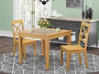 3-Piece Dinette table set - Table and 2 wood seat dining chairs in oak finish