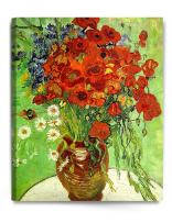 DECORARTS - Red Poppies and Daisies, Vincent Van Gogh Art Reproduction. Giclee Canvas Prints Wall Art for Home Decor 30x24
