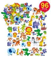 Baker Ross Self-Adhesive Foam Jungle Animal Decoration Stickers | Kids Fun Arts and Crafts Project | No Glue or Scissors Needed | Pack of 96 Rain Forest Elements