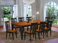 9 Pc Table and chair set with a Dining Table and 8 Dining Chairs in Black and Cherry