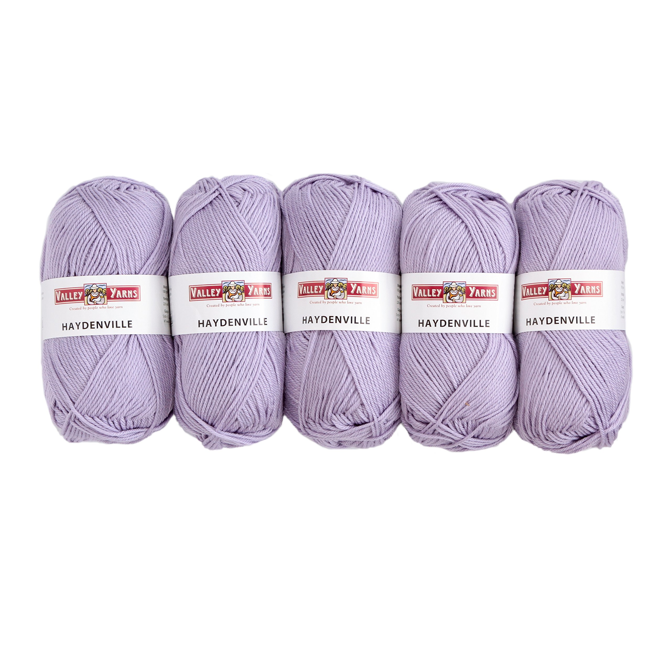 Valley Yarns Haydenville 5-Pack (Washable Worsted Weight Yarn, 60% Superwash Merino Wool/ 40% Acrylic Microfiber) - #24 Lavender