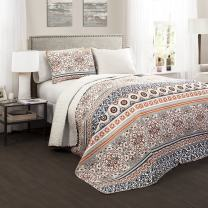 Lush Décor Nesco Quilt Set Striped Pattern Reversible 3 Piece Bedding Set - Navy/Coral - Full/Queen Quilt Set