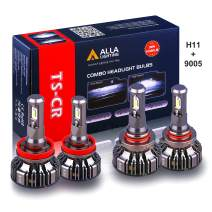 Alla Lighting H11 and 9005 LED Headlights Bulb Combo HB3 High Beam + H11 Low Beam Replacement Xtreme Super Bright Conversion Kits, 6000K Xenon White