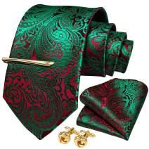 DiBanGu Men's Silk Necktie Solid Plain Tie and Pocket Square Cufflink Set Formal Business Wedding