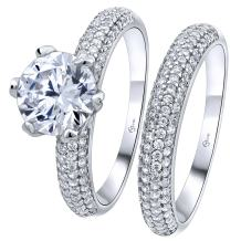 Luxurious Sterling Silver .925 Precious Metal VVS1 Clarity Pave Round Cut Stone 2 Carat (ctw) AAA (CZ) Cubic Zirconia 2 Piece Set Ring, Platinum/Rhodium Plated.
