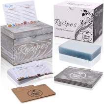 KitchenMania Wood Recipe Box with Cards and Wood Dividers 4x6 Rustic Style Set,100 Double Sided Recipe Cards and 100 Clear Recipe Card Protectors, Gift for Grandma Mom Women Wedding Bridal Shower