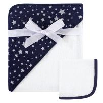 Hudson Baby Unisex Baby Cotton Hooded Towel and Washcloth, Navy Silver Star, One Size