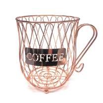 Coffee Pod Holder and Organizer Kcup Holder Mug,Cup Keeper Coffee & Espresso Pod Holder, Coffee Mug Storage Basket, Rose Gold