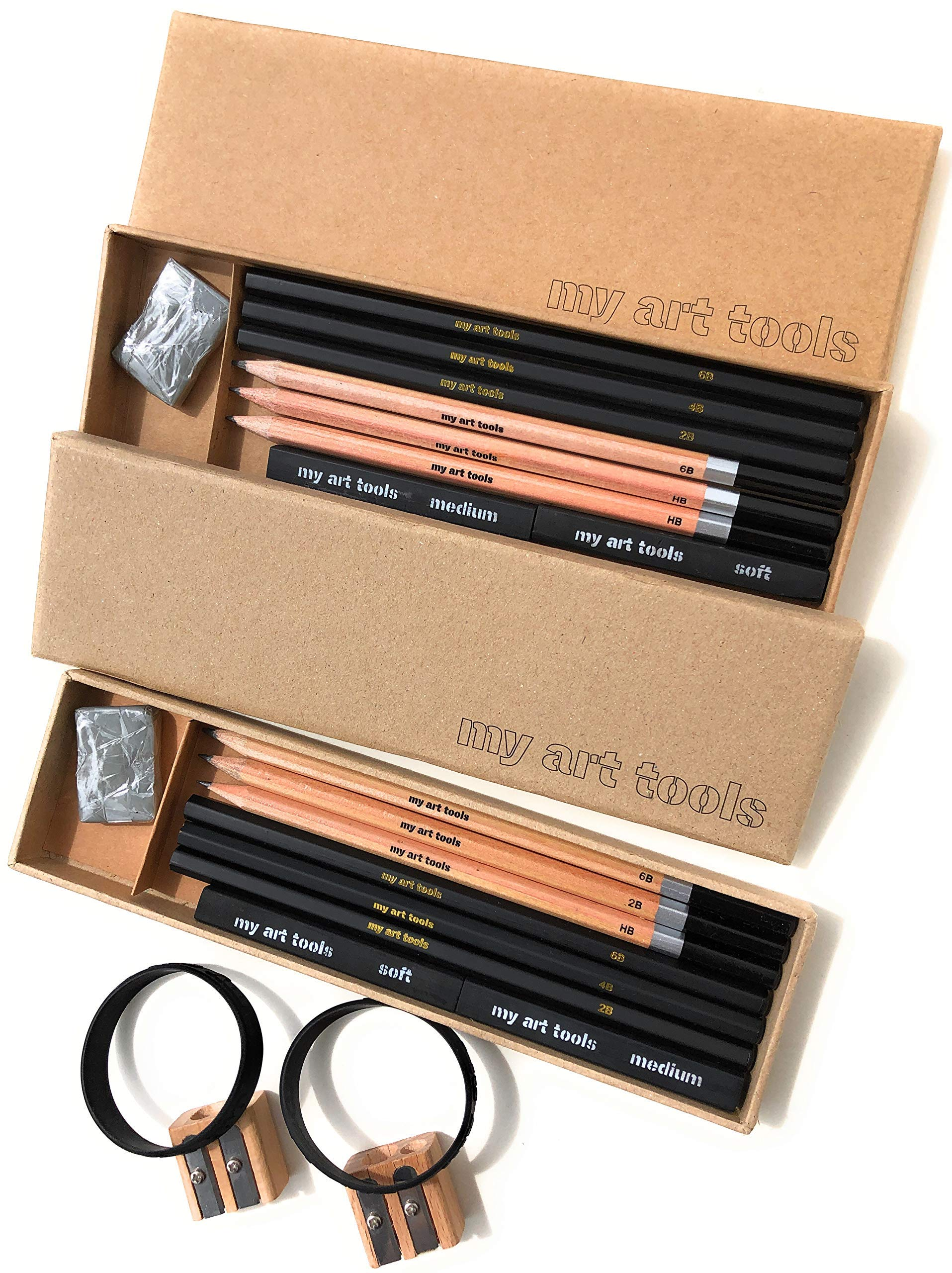 MY ART TOOLS DRAWING PENCILS - Sets for Professional Sketch Artists Include Charcoal & Graphite pencils, Compressed Sticks,Sharpener, Kneaded Eraser in 2 Art Sets, 10 Pieces EACH kit - non plastic box