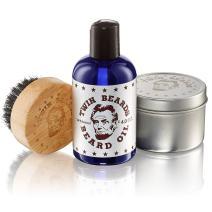 Twin Beards Beard Care Set for Men | 100% Boar Bristle Beard Brush & Metal Tin | Vitamin E for Healthy Skin | Conditions for a Soft & Full Beard | Sandalwood & Jojoba Oil | 4 Oz U.S.A.
