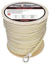 "Extreme Max 3006.2376 BoatTector Double Braid Nylon Anchor Line with Thimble - 1/2"" x 800', White & Gold"