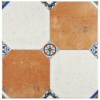 "SomerTile, Cream/Blue/Orange/Black/Green/White FEM13MNM Maises Ceramic Floor and Wall Tile, 13.125"" x 13.125"", Jet Mix"