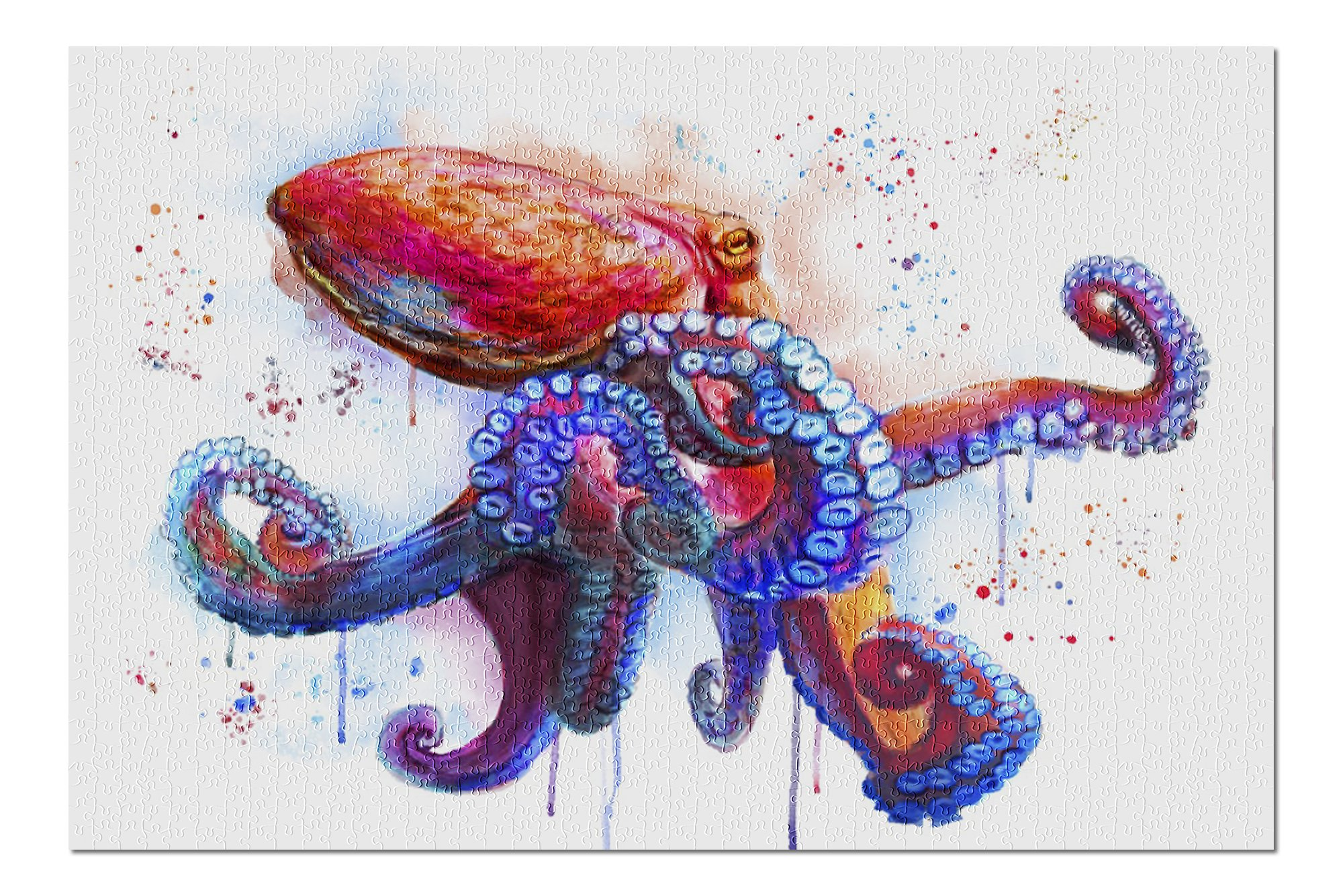 Octopus - Watercolor (Premium 1000 Piece Jigsaw Puzzle for Adults, 19x27, Made in USA!)