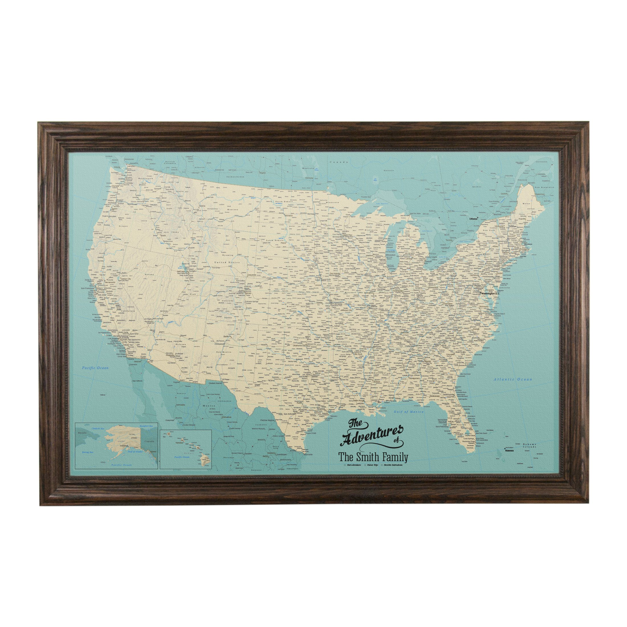 Push Pin Travel Maps Canvas - Personalized Teal Dream USA with Solid Wood Brown Frame