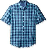 IZOD Men's Big and Tall Saltwater Dockside Chambray Short Sleeve Button Down Plaid Shirt