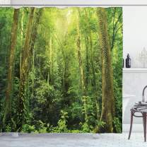 "Ambesonne Rainforest Shower Curtain, Tropical Rainforest Landscape Malaysia Asia Green Tree Trunks Uncultivated Wood Print, Cloth Fabric Bathroom Decor Set with Hooks, 75"" Long, Green"
