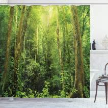 """Ambesonne Rainforest Shower Curtain, Tropical Rainforest Landscape Malaysia Asia Green Tree Trunks Uncultivated Wood Print, Cloth Fabric Bathroom Decor Set with Hooks, 75"""" Long, Green"""