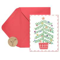 Papyrus Holiday Cards Boxed, Christmas Tree in Pot (20-Count)