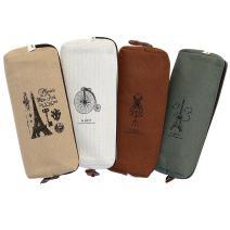 Set of 4, IPOW Hot Vintage Canvas Student Pen Pencil Case Coin Purse Pouch Cosmetic Makeup Bag