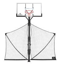 Silverback Basketball Yard Guard Defensive Net System Rebounder with Foldable Net and Arms into Pole , White/Black, Large