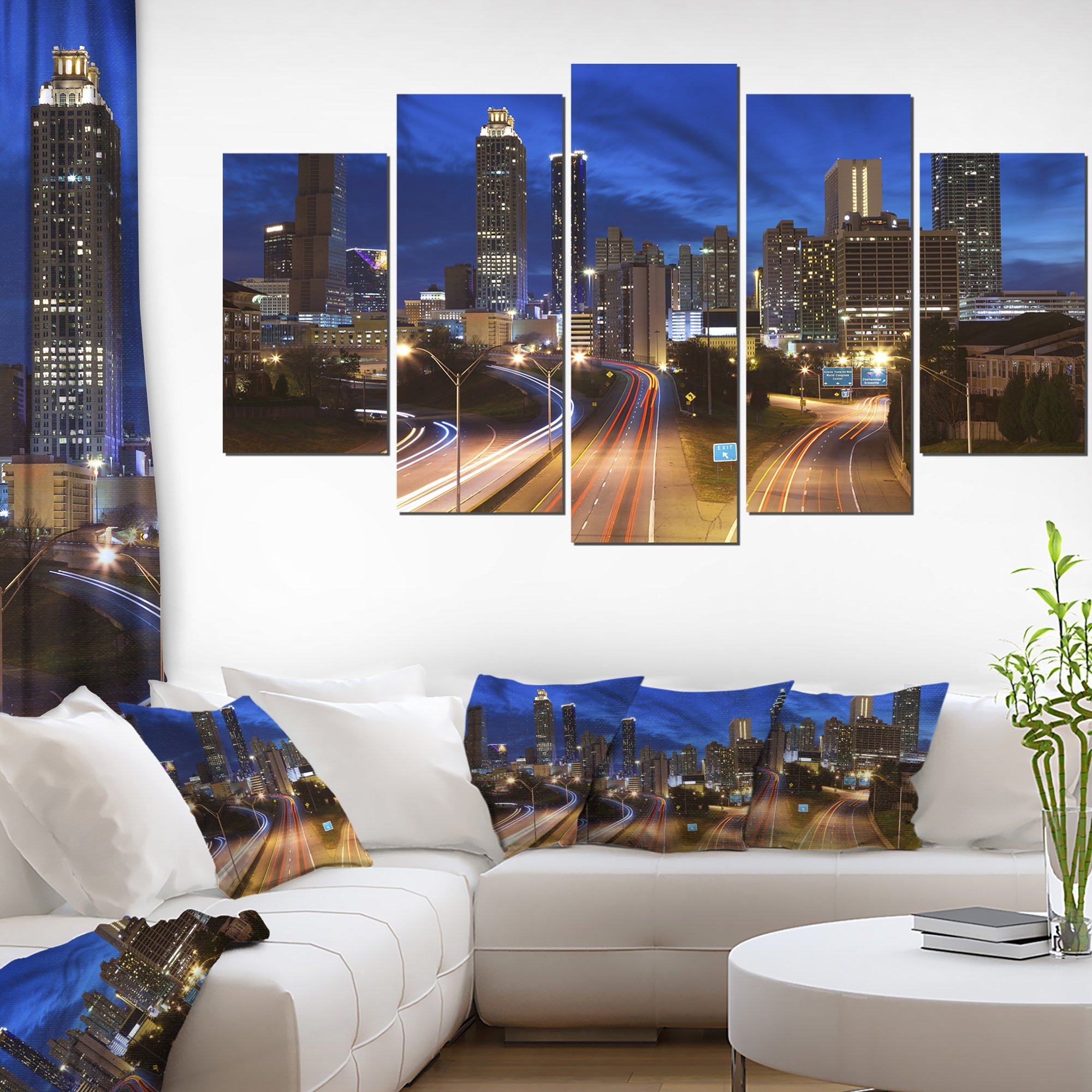 Design Art Atlanta Skyline Twilight Blue Hour-Cityscape Canvas print-60x32 5 Piece-PT9877-373, 60X32-5 Panels Diamond Shape