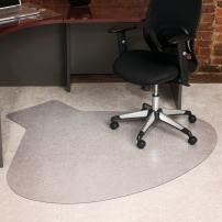 """ES Robbins Medium Pile Carpet Chair Mat, 66""""x60"""", Clear"""