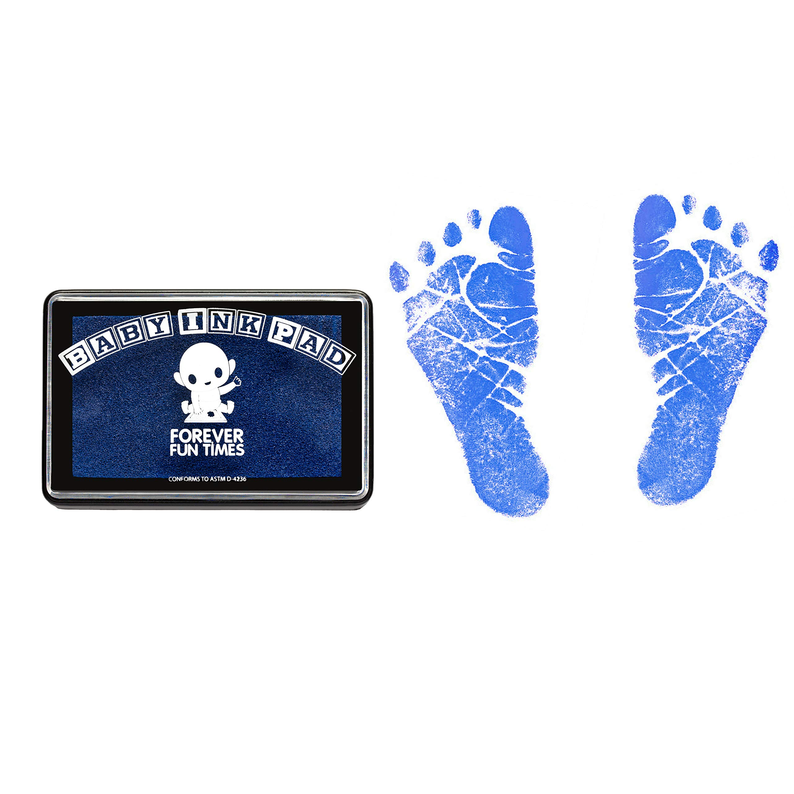 Baby Hand and Footprint Kit by Forever Fun Times   Get Hundreds of Detailed Prints with One Baby Safe Ink Pad   Easy to Clean, and Works with Any Paper or Card   Clean and Safe (Blue)