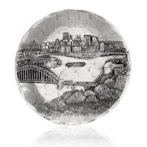 Wendell August Pittsburgh Cityscape Coaster, Hand-hammered Aluminum, Keeps Tabletops Safe, 4.5 Inch Round Coaster