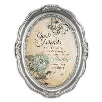 Cottage Garden Good Friends are Like Stars Brushed Silver Wavy 5 x 7 Oval Table and Wall Photo Frame