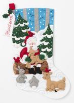 Bucilla Santa's Forest Family Kit Stocking, multi