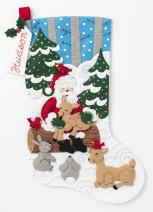 Bucilla Santa's Forest Family Kit Stocking, multi