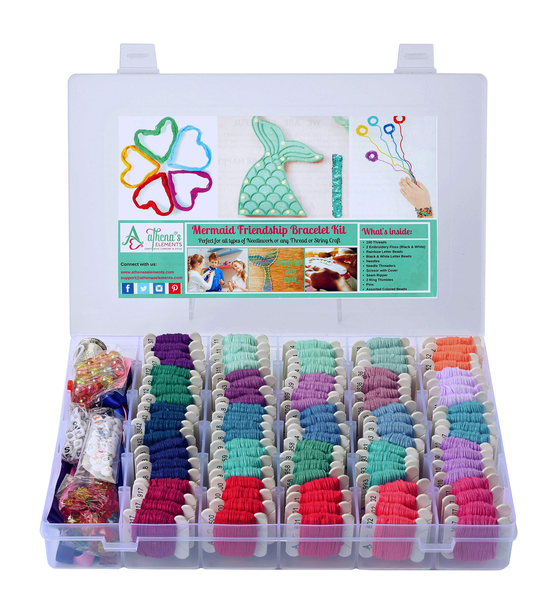 Mermaid DIY Friendship Bracelet String Kit Embroidery Thread and Accessories - Colors are Coded Embroidery Floss Numbers- Cross Stitch, String, Thread Craft Supplies - Perfect Gift for Girls 7 to 12
